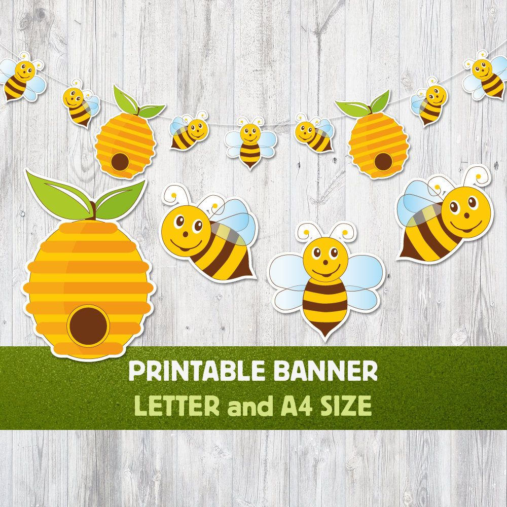 Printable Banner Bee Nursery Decoration Party Summer Honey Garland Hive Shower Baby Decor