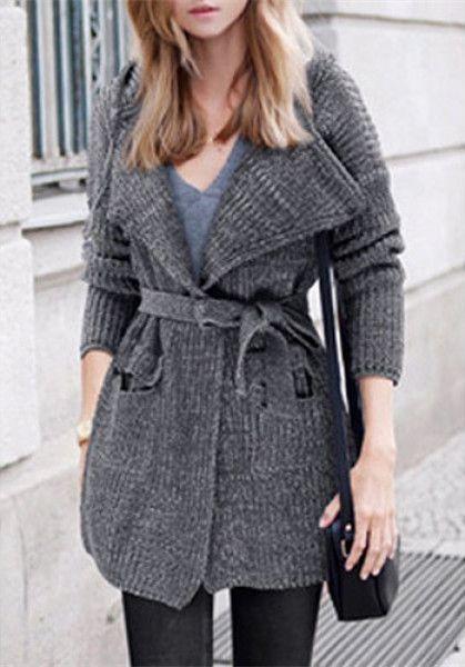 fb0c55430c Stylish Hooded Long Sleeve Solid Color Pocket Design Women s Belted Cardigan