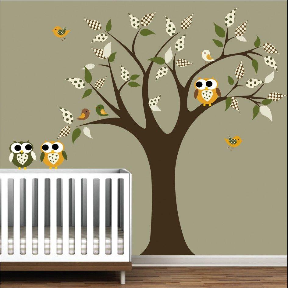 Baby Nursery Cute Green Tree Owl Wall Decal Sticker Vinyl Art Stained