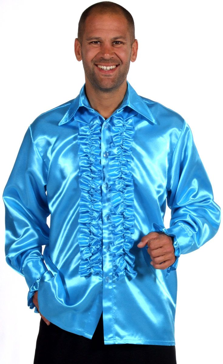 Blue satin ruffle shirt by fancy dress ball uk male for Frilly shirts for men