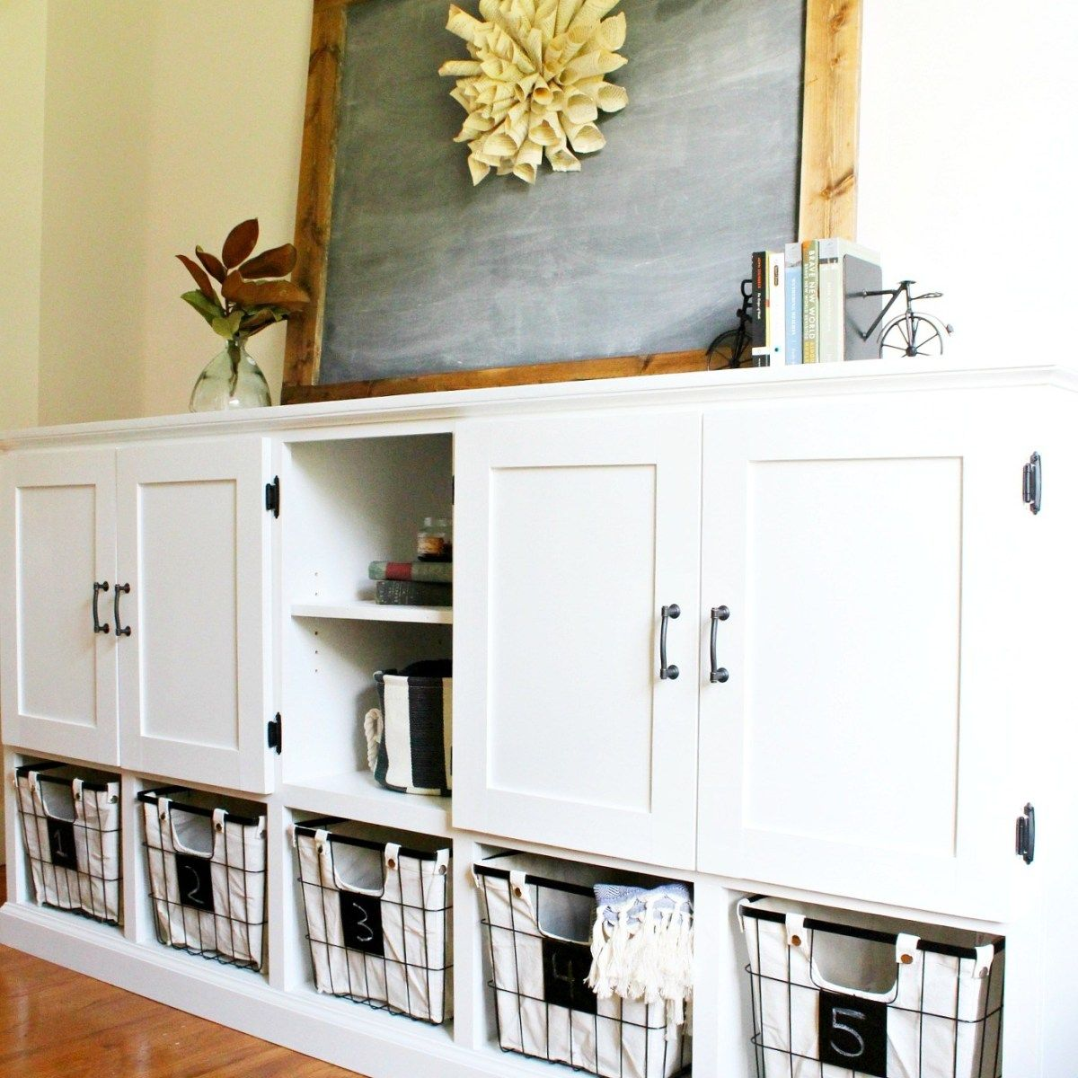 DIY Storage Console {With Shelves, and Cubbies