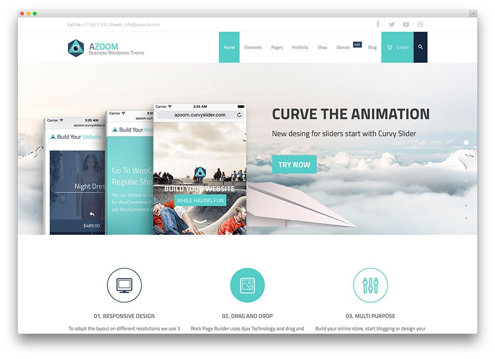 azoom multipurpose corporate theme    curvyslider azoom - wordpress resume template