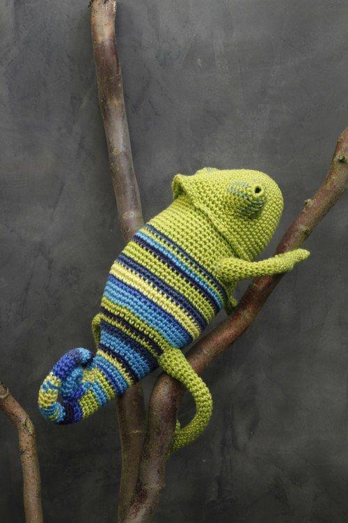 crochet chameleon, adorable   Хамелионы   Pinterest   Strick, Häkeln ...