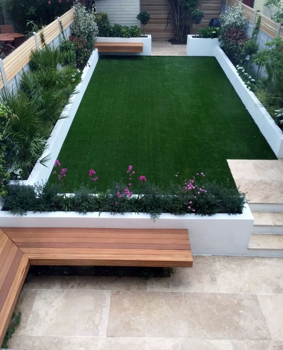 Urban low maintenance garden raised render block beds for Gardening and maintenance