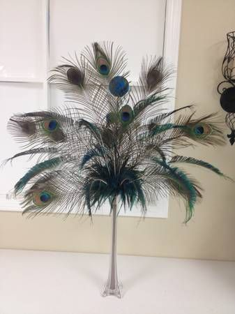 Peacock Feathers In A 24 Tower Vase Floral Arrangements