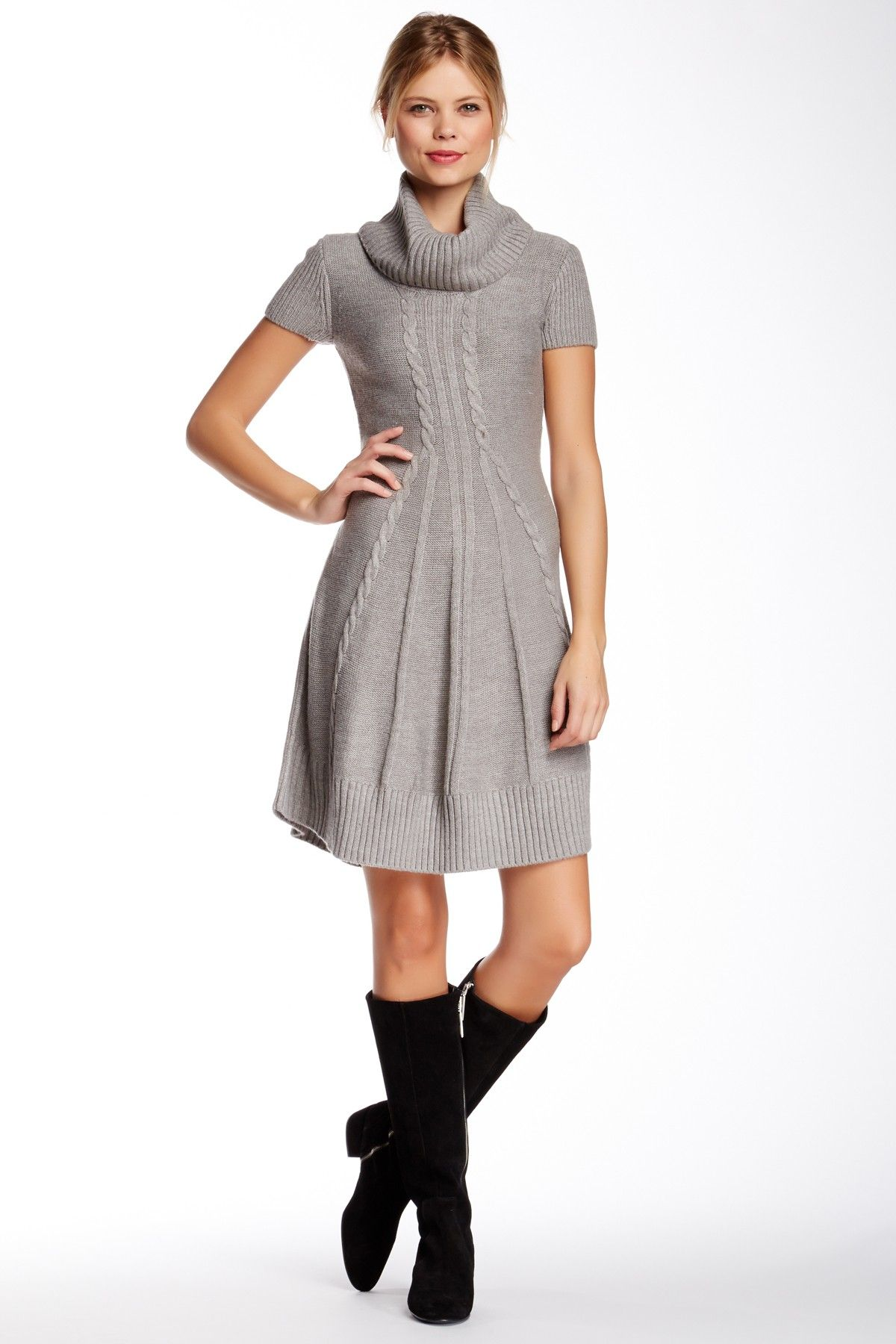 Eliza J Cowl Neck Cable Knit Flare Sweater Dress by Eliza J on ...