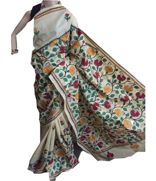 Creamish Silk saree-Kantha work