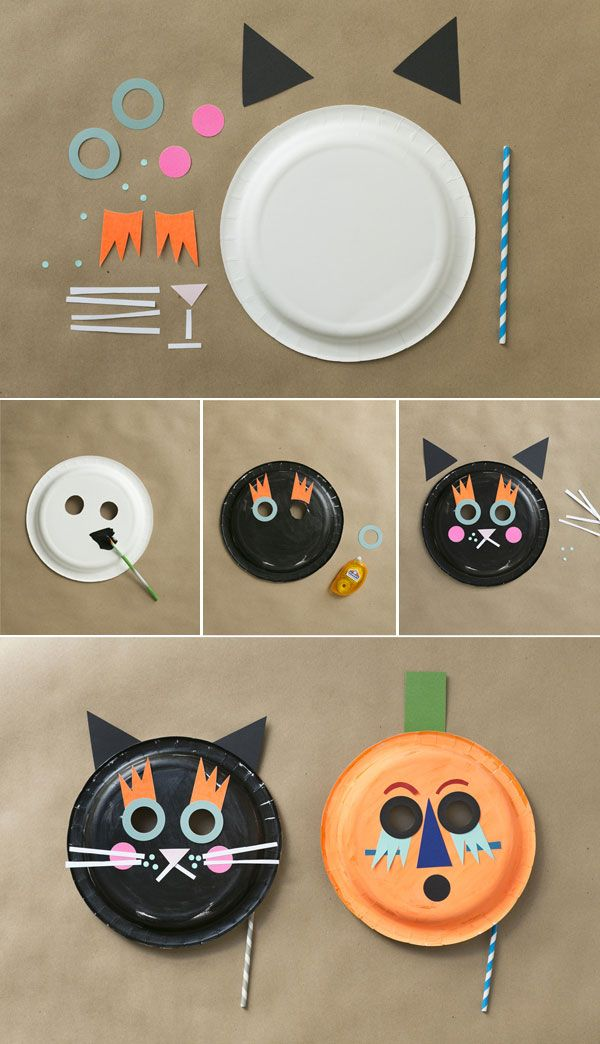 Cat u0026 Pumpkin Paper Plate Masks + Playful Giveaway : paper plate halloween masks - pezcame.com