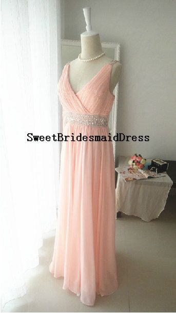 Strap V neck Beadings Sleeveless Long Chiffon Dress Prom Dress Evening Dress Pink Wedding Dress Bridemaids Dress Formal Dress Cocktail Dress