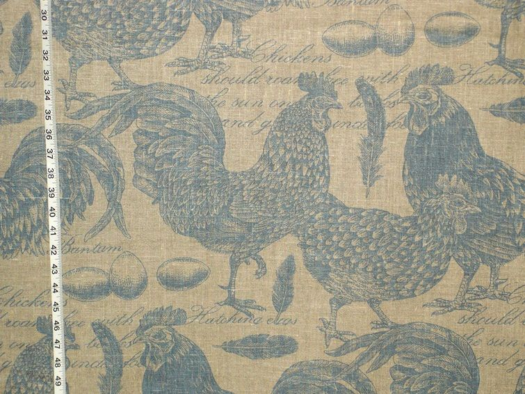 Chicken Rooster Toile Fabric Document Script Blue Turquoise From