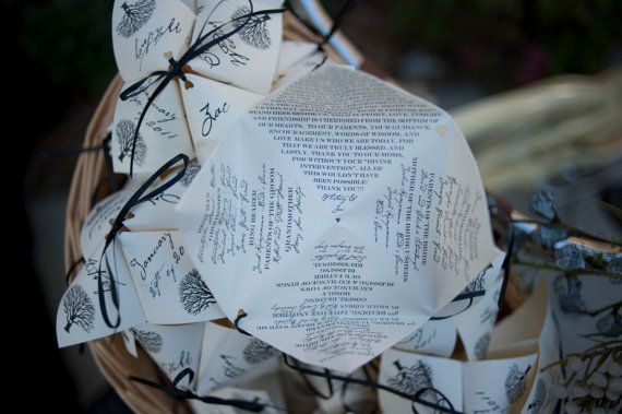 LOVE THIS! Didn't realize it was called a: cootie-catcher wedding program!  sweet childhood memories!