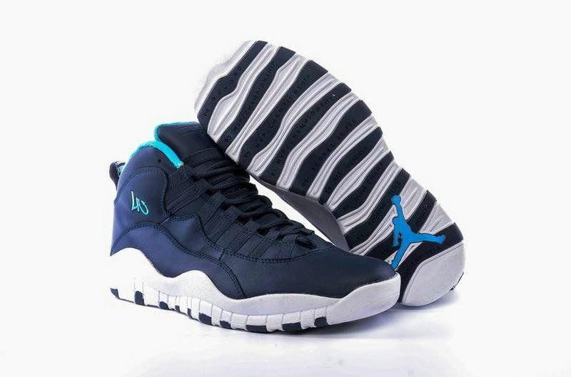 Original Jordan Retro 10 X Darkblue White Blue Basketball Shoe for Sale