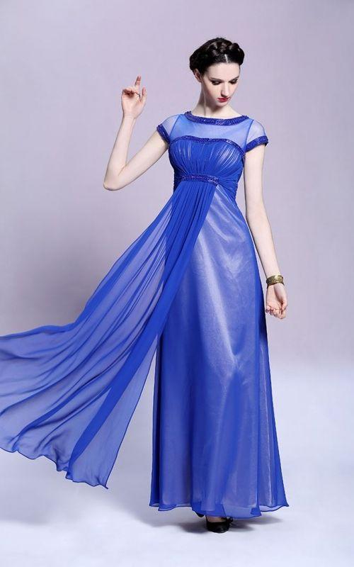 ヨーロッパスタイルの上品なブルー系ロングドレス - ロングドレス・パーティードレスはGN|演奏会や結婚式に大活躍!