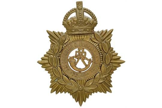 Badge. Oxfordshire & Buckinghamshire Light Infantry OR's helmet plate centre circa 1908-14.. Die