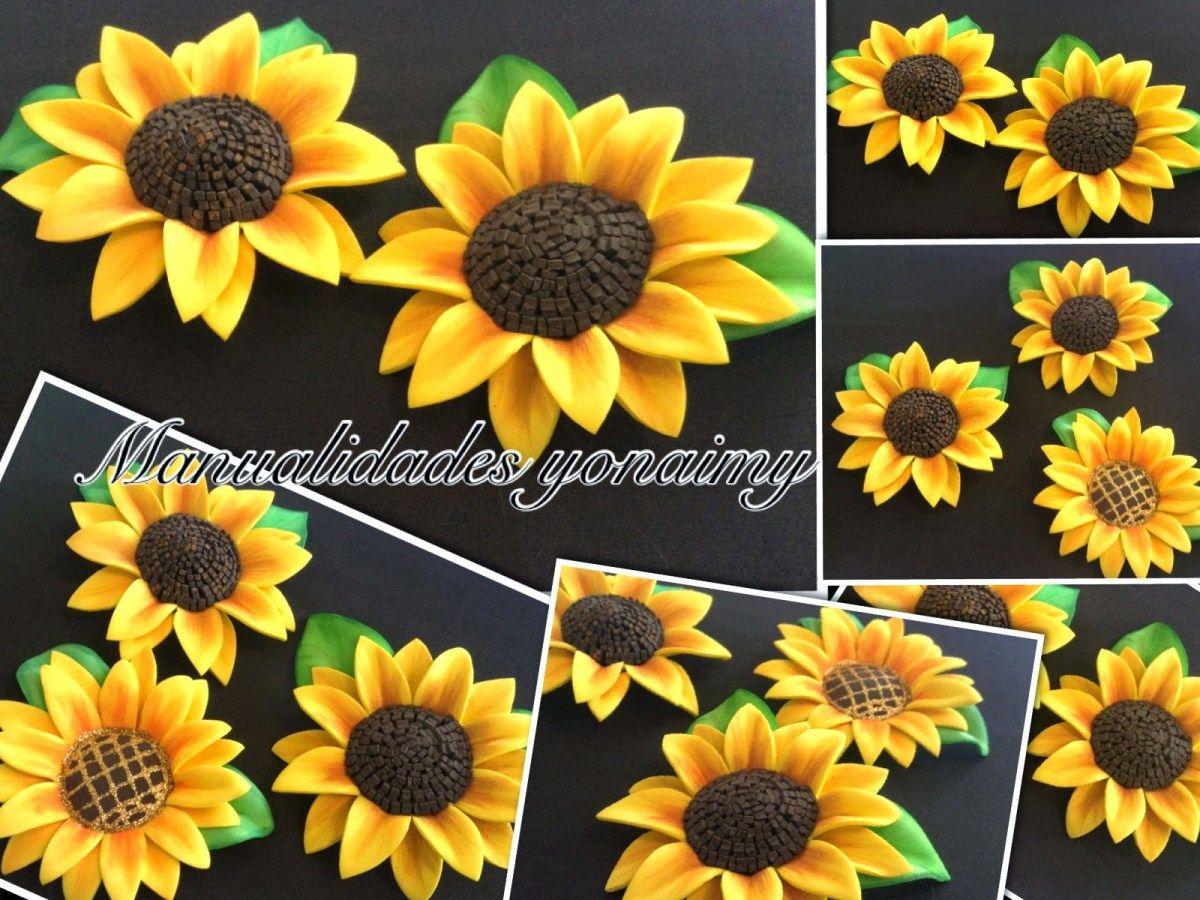 Tutorial para aprender como hacer girasoles de goma eva. | Paper flowers,  Diy flowers, Flower making