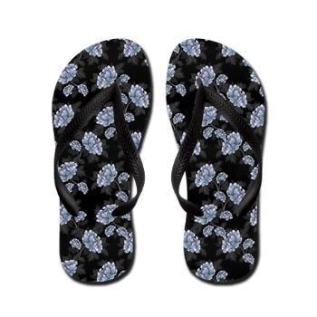 Floral Flip Flops Black With Blue Flowers