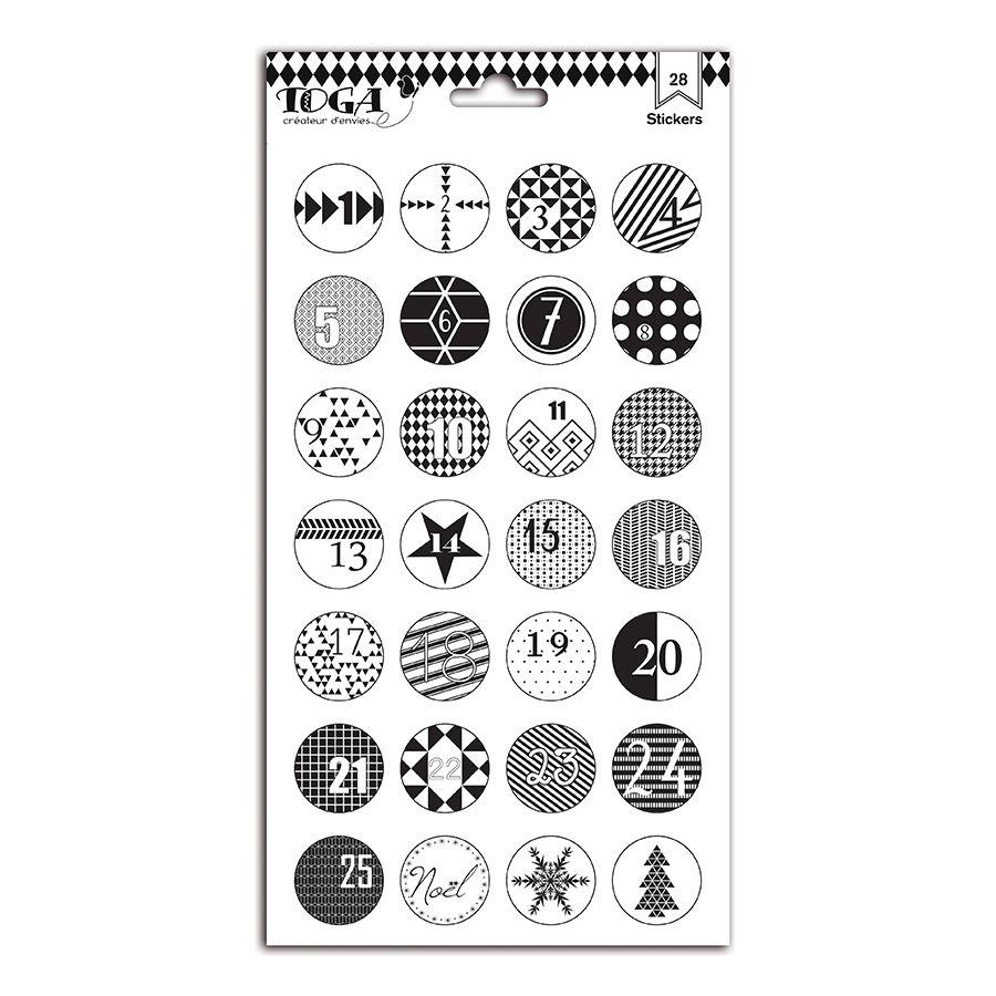 Noël Noir Amp Blanc Planche De Stickers Chiffres 15 X