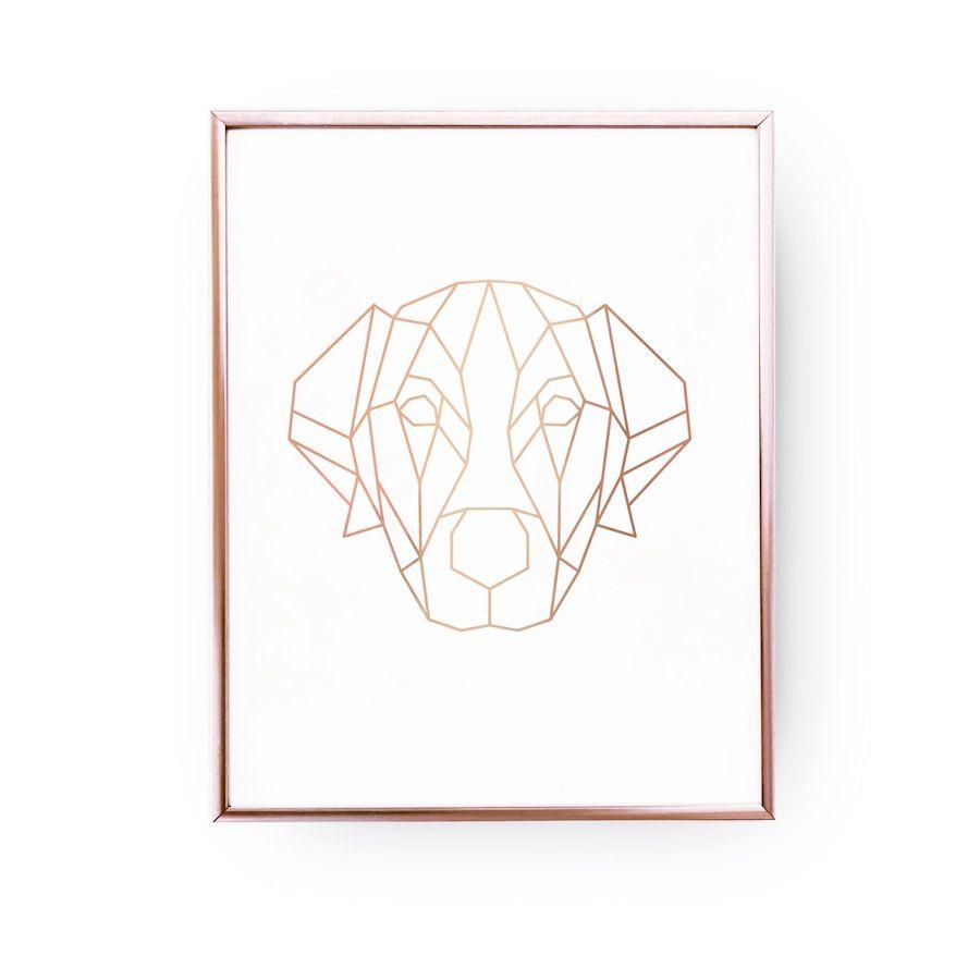 Odkryj Recznie Zlocone Plakaty Zloteplakaty Pl Gold Foil Print Dog Art Real Gold Foil