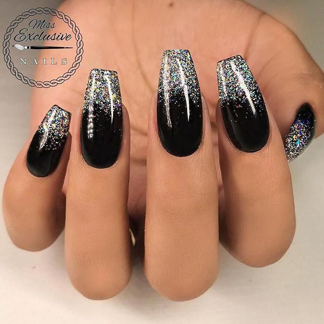 Repost Missexclusivenails Faded Missexclusivenails Featuring Tammytaylornails Black Nails With Glitter Faded Nails Black Nails