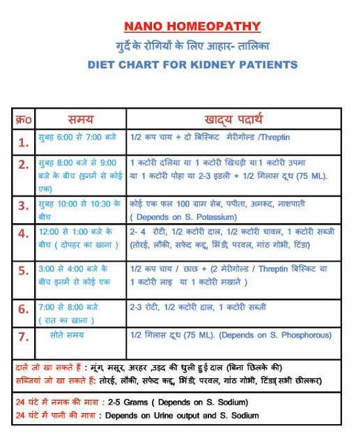 Dr Mohan Singh Nano Homeopathy Diet Chart For Kidney Patients - diet chart