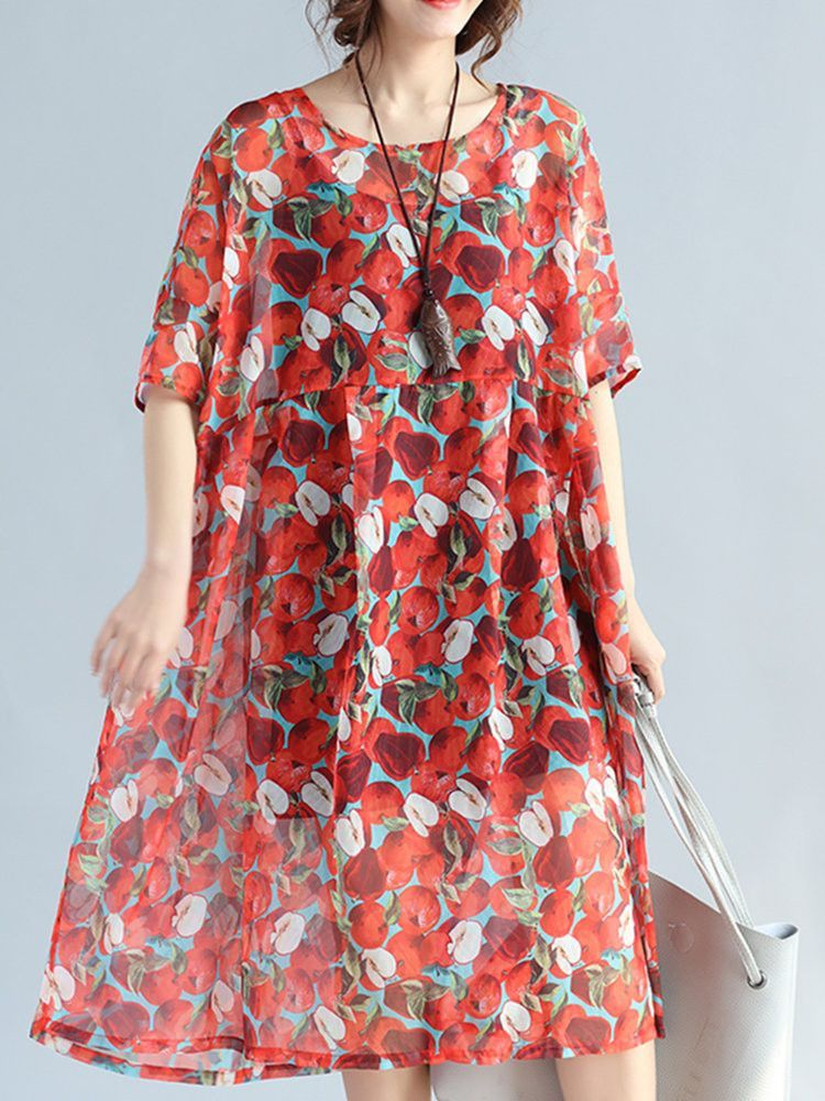 5c31a70fab8 Brand  No Specification  Sleeve Length Half Sleeve Neckline O-neck Color Red  Style Vintage Dress Length Mid-Calf Pattern Floral Printed Material Chiffon  ...
