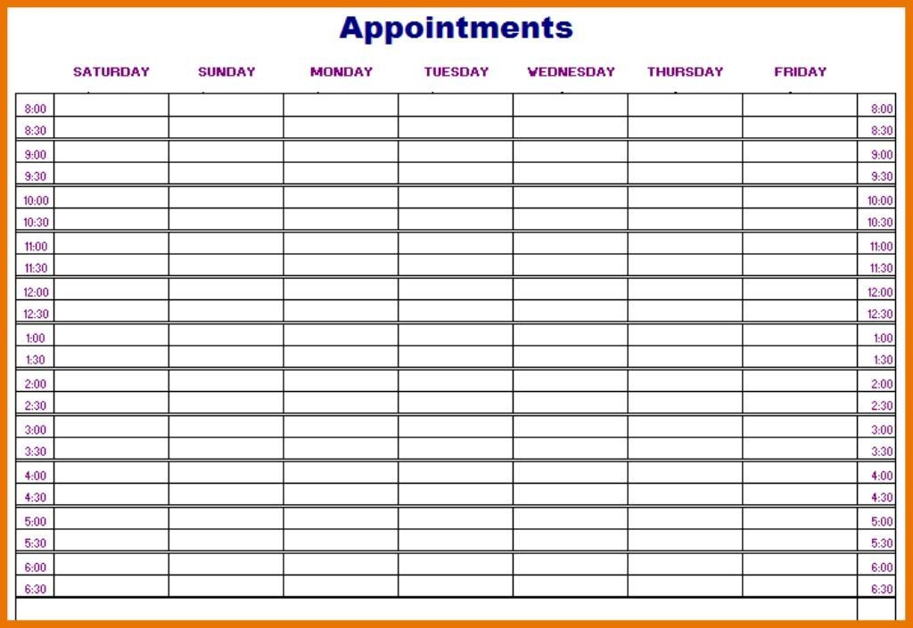 Daily Appointment Calendar Template Dailycalendar Dailyschedule Dailyplanner Appointment Calendar Weekly Appointment Calendar Weekly Appointment Planner