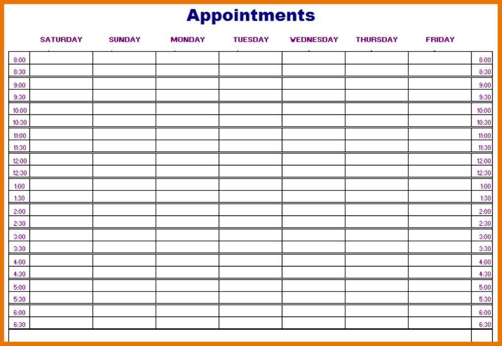 Daily Appointment Calendar Template Dailycalendar