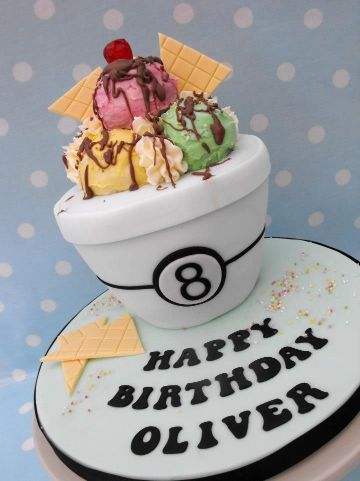 Big bowl of Ice-cream cake - I wanted to do something different for my sons birthday. So instead of the usual football, I chose his other favourite thing....ice-cream! The bowl is chocolate cake and the ice-cream balls are giant cake pops smothered in buttercream.