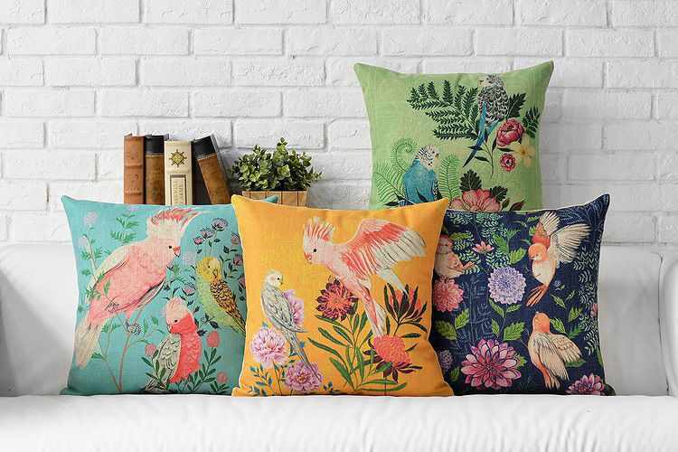 Ikea Decorative Pillows Awesome Aliexpress  Buy Nordic Linen Parrot Fabric Pillows Cover Inspiration Design