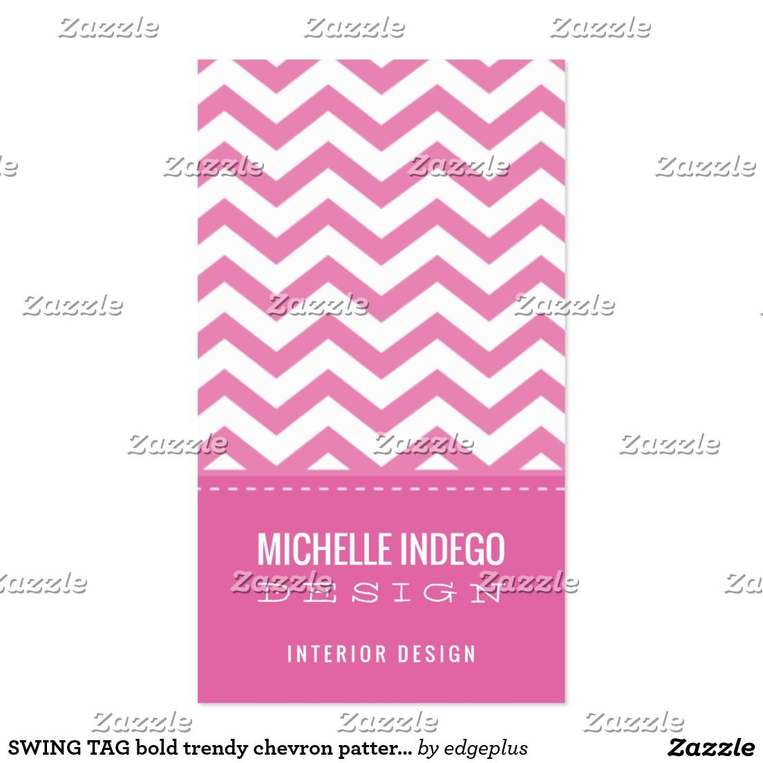 SWING TAG bold trendy chevron pattern preppy pink Business Card ...