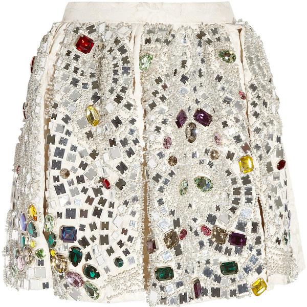 Dolce & Gabbana Crystal-embellished jacquard skirt found on Polyvore