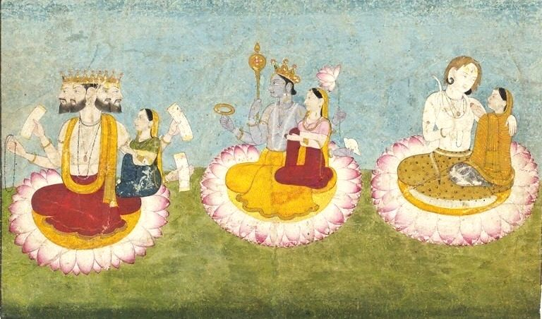 """Brahma, Vishnu and Shiva seated on lotuses with their consorts, ca1770 -Shiva and Vishnu are regarded as Mahādevas (""""great gods"""" ) due to their central positions in worship and scriptures.[3] These two along with Brahma are considered the Trimurti—the three aspects of the universal supreme God. These three aspects symbolize the entire circle of samsara in Hinduism: Brahma as creator, Vishnu as preserver or protector, and Shiva as destroyer or judge. The Hindu trinity consisted of Brahma…"""