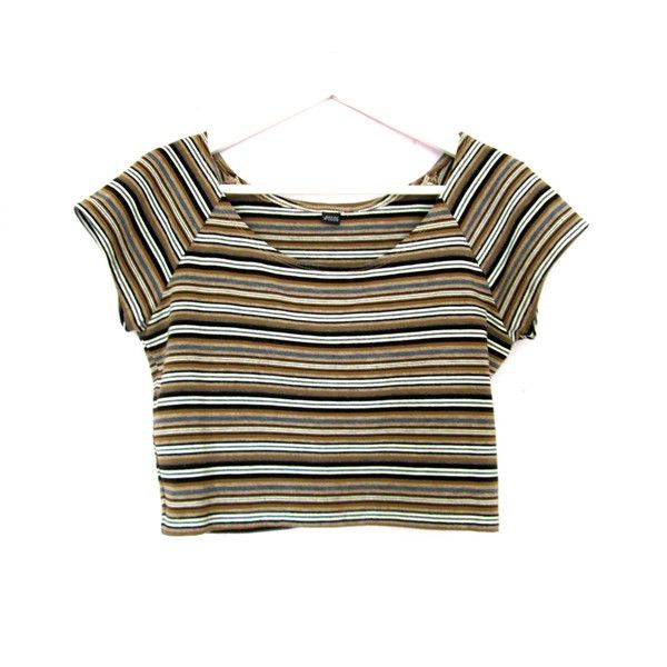 537b3590f4b213 90 s Striped Crop Top size M L ( 30) ❤ liked on Polyvore featuring ...