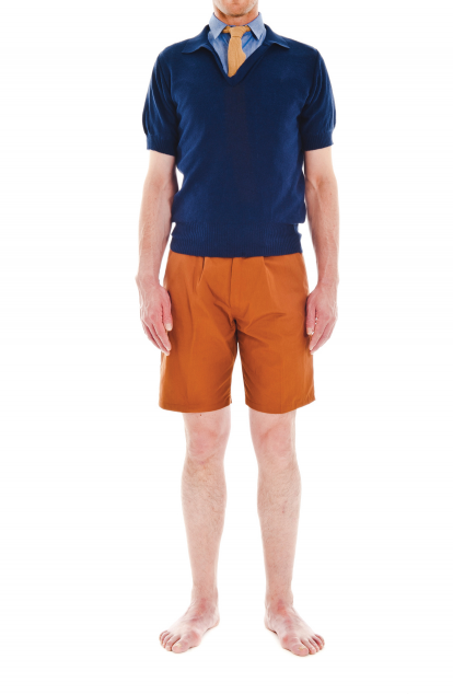 Camo - navy knit short sleeved polo, sand brown tie, blue short sleeved Oxford, copper shorts