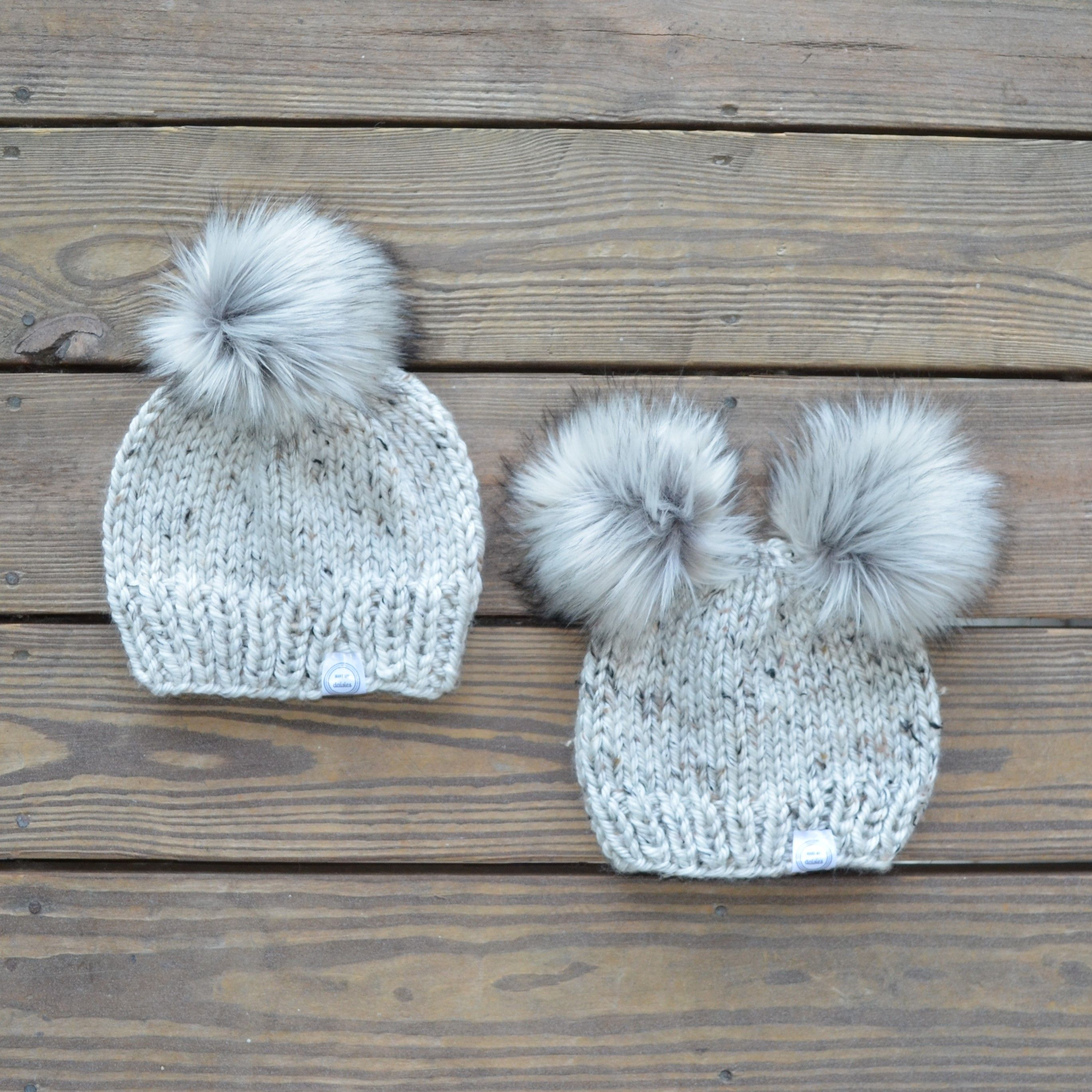 Pom Pom Hats Fur Pom Pom Beanies Knit Beanie Mommy and Baby Hats Matching Hats Winter Hats Unique Baby Girl Gift Mommy and Me Hats