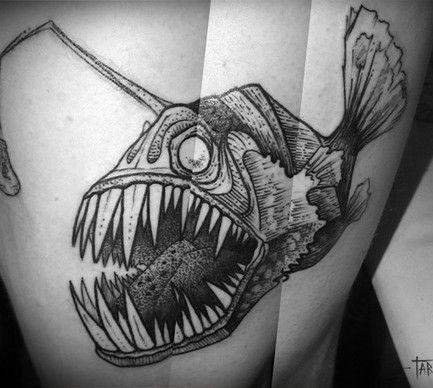 Need A Scary Angler Fish Tattoo Tatuaje Monstruo Monstruos Marinos Tatuajes