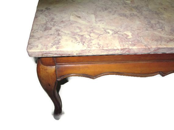 Vintage Marble Top Coffee Table Furniture Hand Crafted Wood Frame Father S Day Home Decor