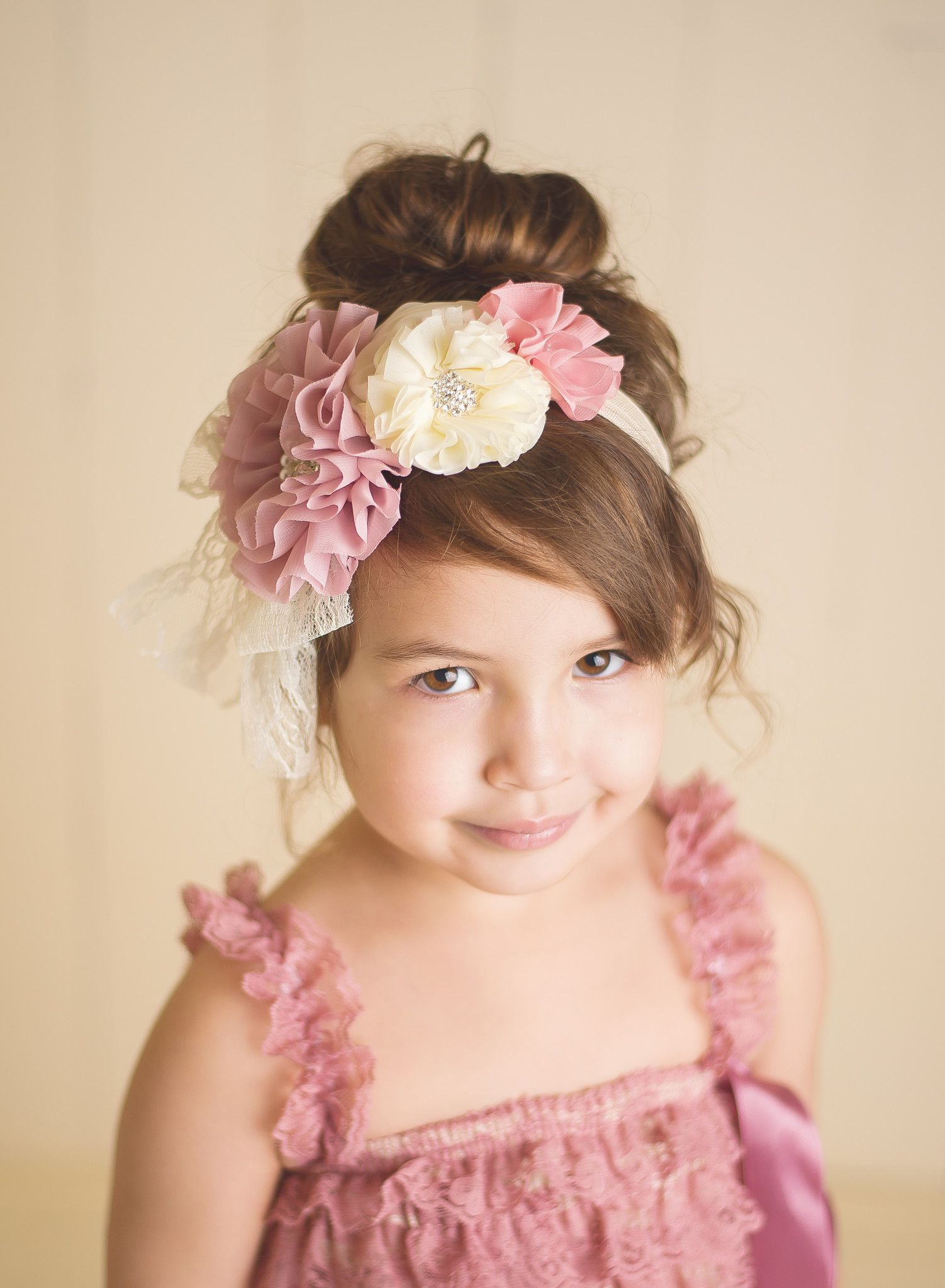 Flower Lace Headband - Mauve