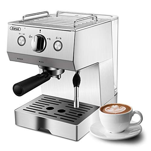 Espresso Machine, Coffee Machine with 15 bar Pump Powerful Pressure Coffee Brewer, Coffee maker with Milk Frother Wand for Cappuccino Latte and Mocha, Silver, Stainless Steel, 1050W #espressocoffee
