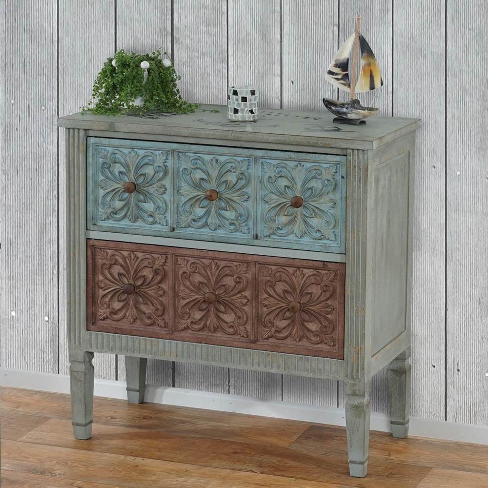 Landhaus Zimmer Kommode Vintage Holz Sideboard Shabby Kabinett