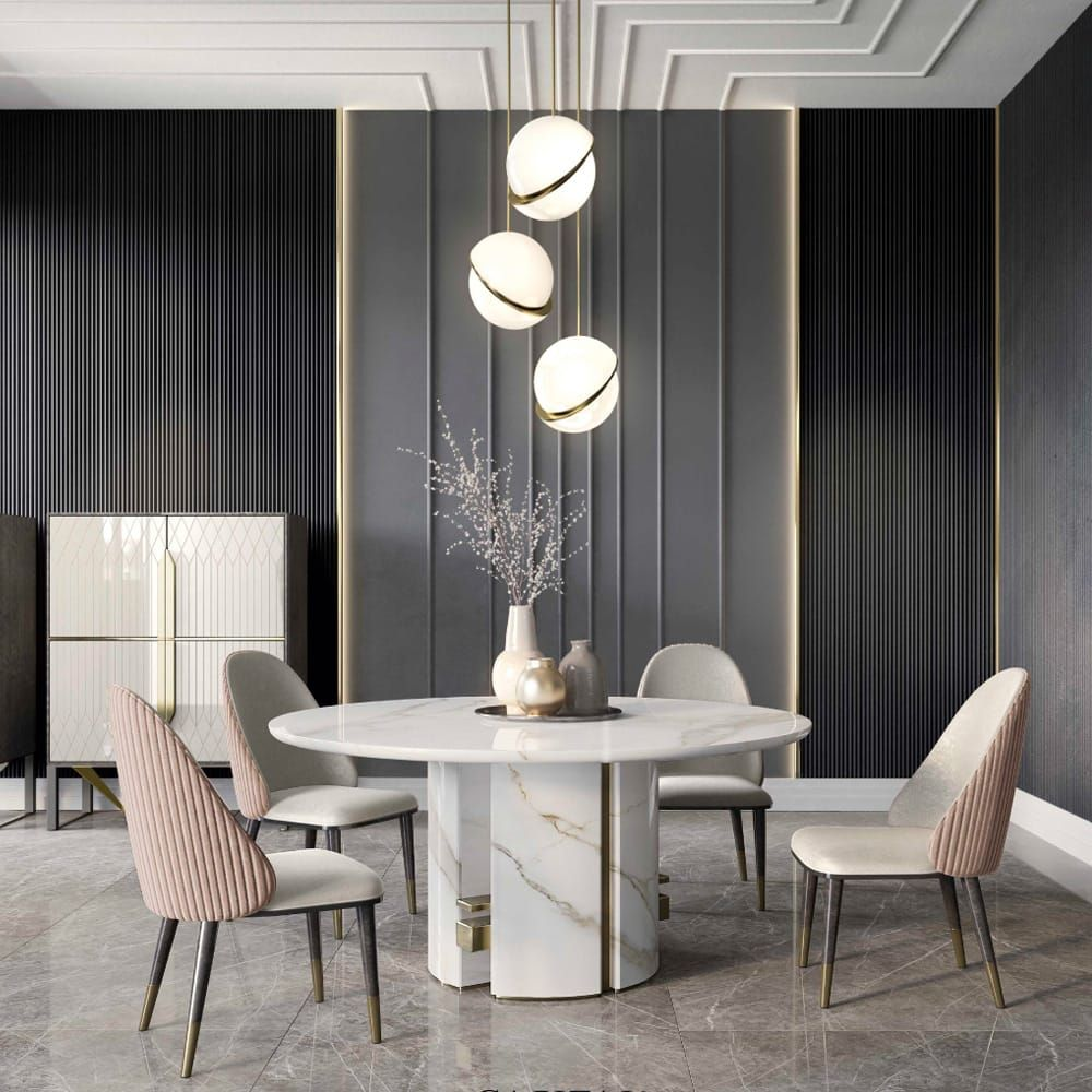 Modern Luxury Round Dining Table With Faux Marble Top Metal Base Small Medium L Round Marble Dining Table Luxury Round Dining Table Round Dining Table Modern