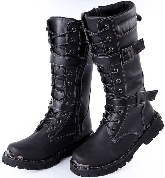 New Arrival Men S Knee High Boots Black Buckles Lace Up Leather