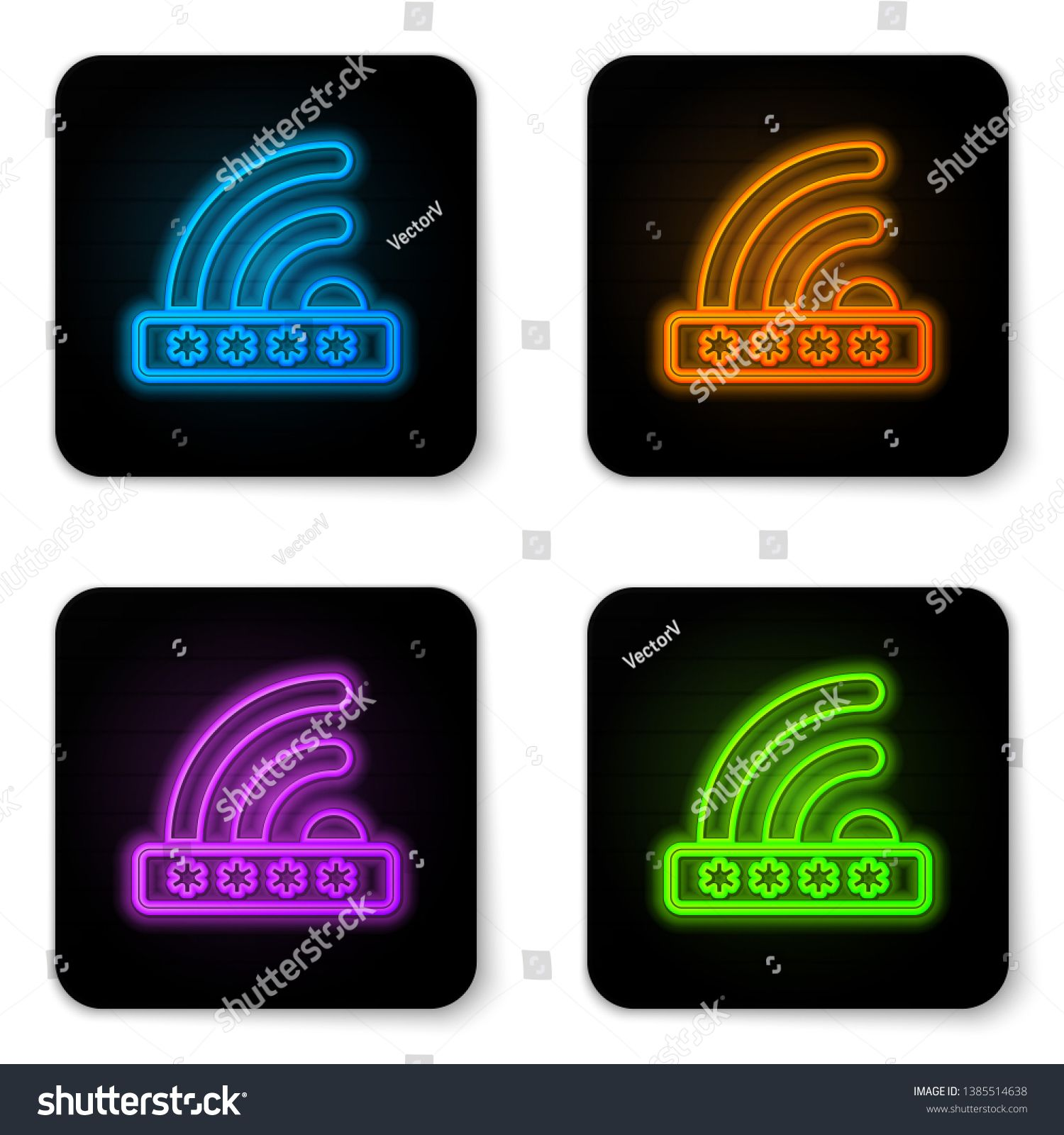 Glowing neon Wifi locked sign icon isolated on white