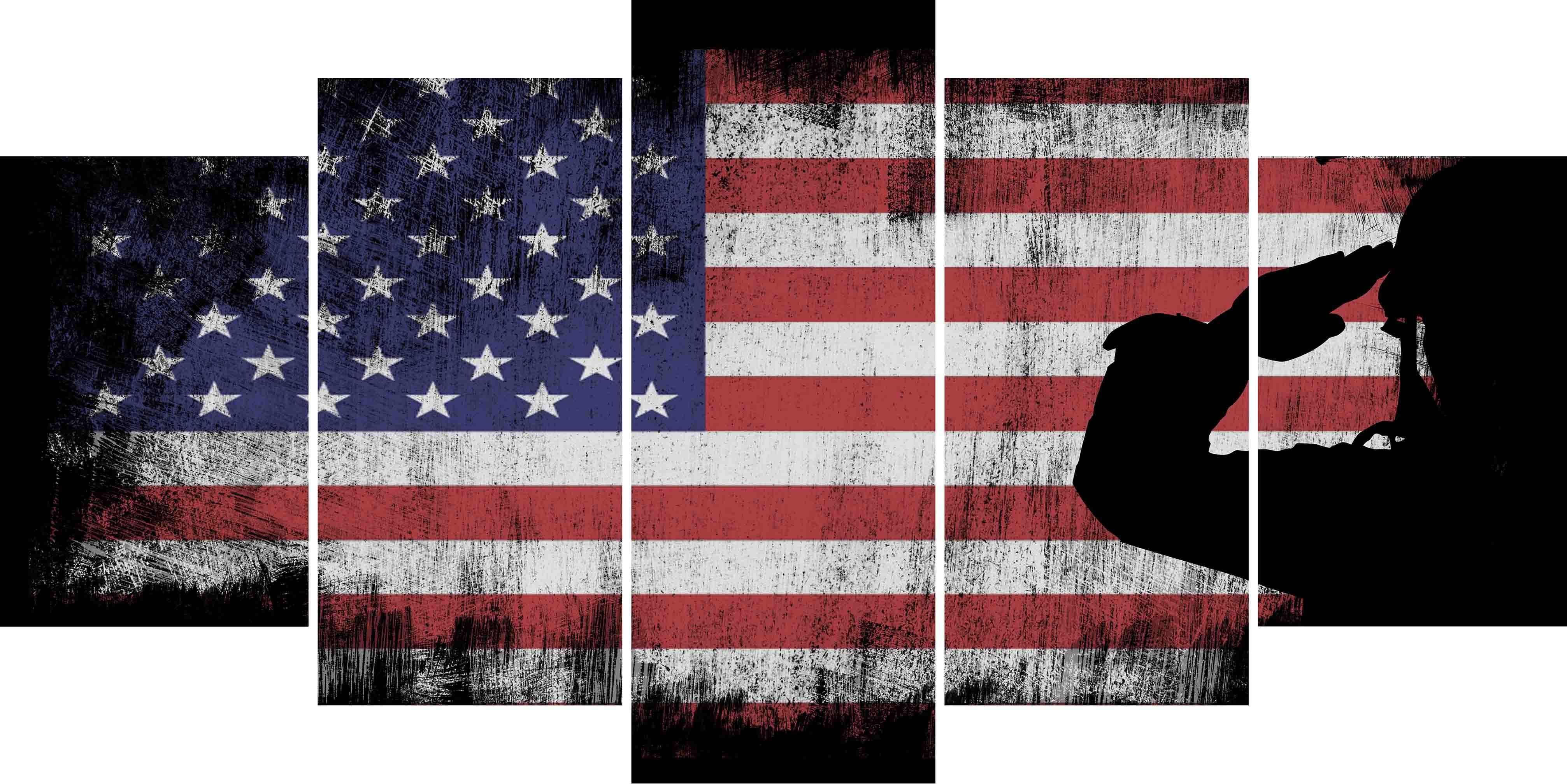 35c2dc97e7d8 US Army Marine Saluting the American Flag Patriotic Military Wall Art  Canvas Painting Decor