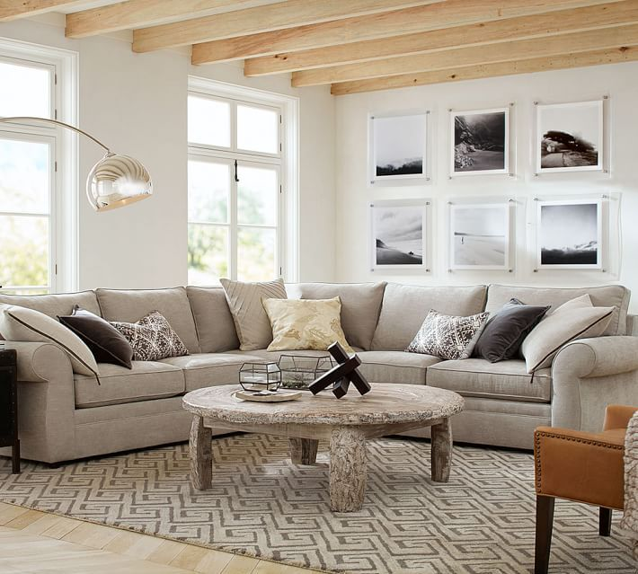 Pottery Barn Living Room Furniture: Pearce Upholstered 3-Piece L-Shaped Sectional With Wedge