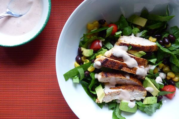 Chili-Rubbed Chicken with Spinach Salad -- so easy and the kids ate everything!