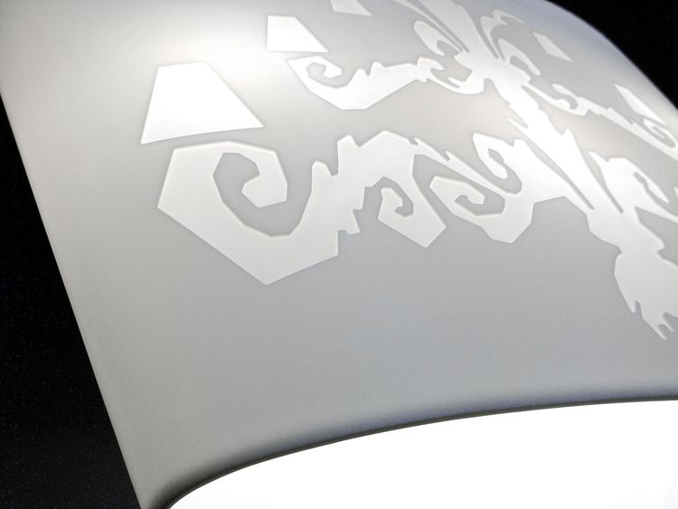 CNC milled lampshade. Design by Alex Vitet. Fabrication by Sterling Surfaces. Photo by Jeff Baumgart.