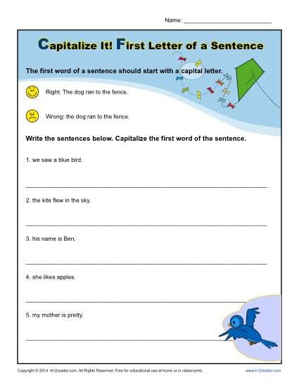 kindergarten capitalization worksheet first letter of a sentence learning 1st grade. Black Bedroom Furniture Sets. Home Design Ideas