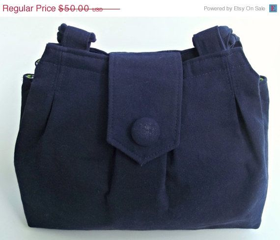 VALENTINES DAY SALE Navy Blue Canvas Purse IPad by ShoppeFancyThat, $40.00