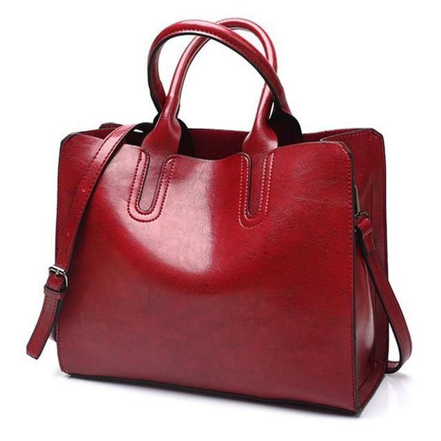 Ladies Oil wax Leather hand bag for Women Famou Brand Trunk Handbags Luxury  Designer Femme Casual Tote large Travel Shoulder Bag aa1d80b31f